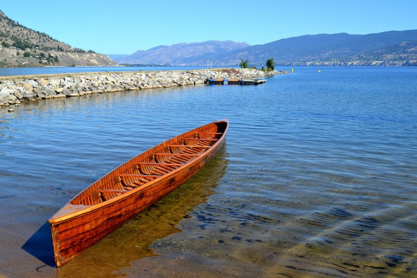 Wooden Canoe adjacent to the Okanagan River outflow