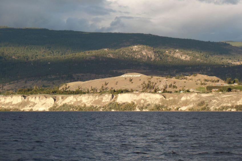 Hollywood like Penticton sign on Munson Mountain overlooking Lake Okanagan