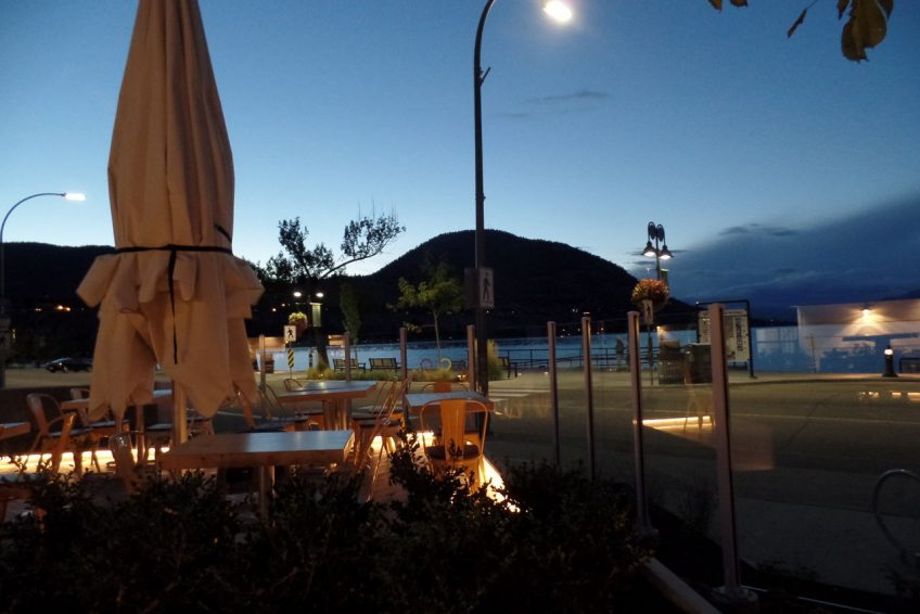 Outdoor dining patio on across from the beach
