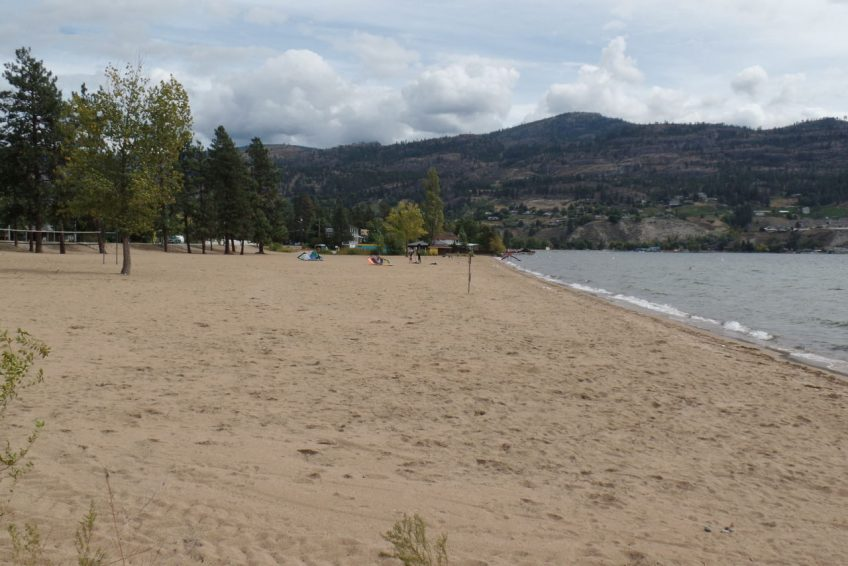 Sandy beach of Skaha Lake bordering the south end of the city