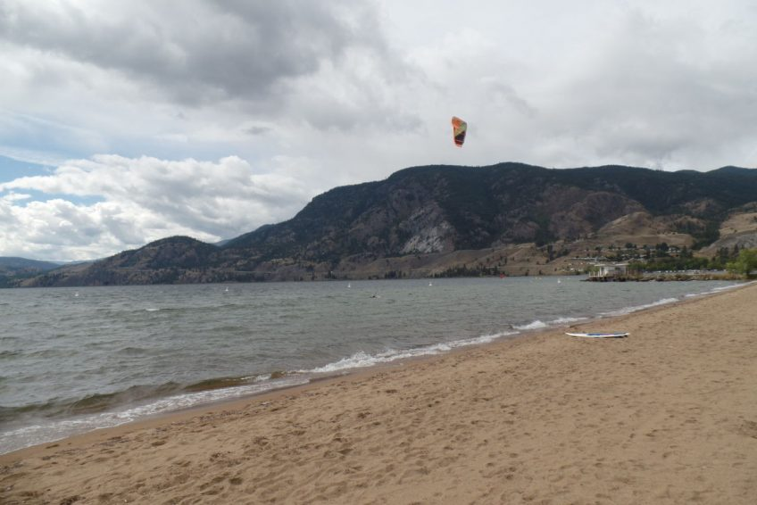 Kiteboarding on Skaha Lake