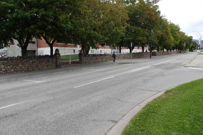 Long stone fence guards the historic Shatford Centre