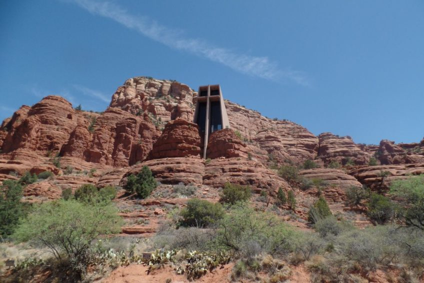 Looking up at the Chapel of the holy cross in Sedona
