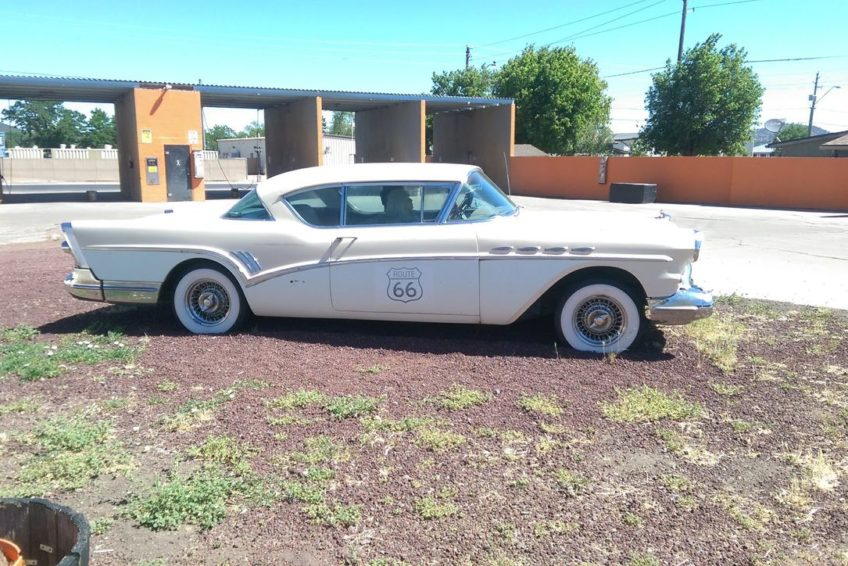 Classic 57 Buick outside carwash in Williams Arizona
