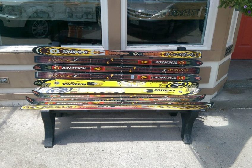 Bench made with snow skis in Ouray Colorado