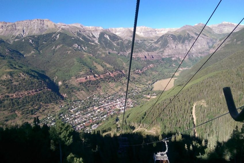 Descending into Telluride on the free gondola