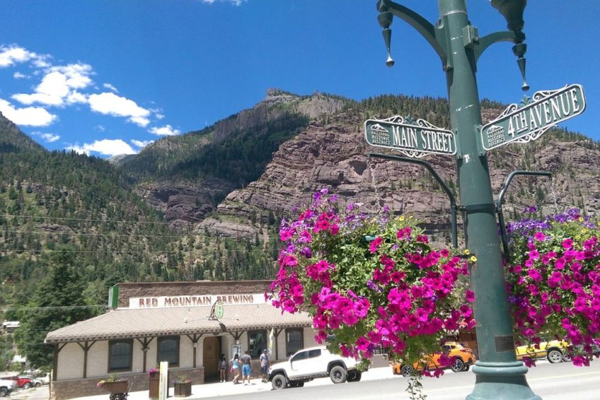 Corner of Main Street and fourth Avenue in Ouray