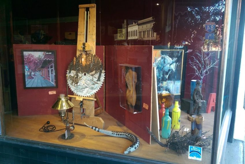 Shop window display in the historic district of Baker City