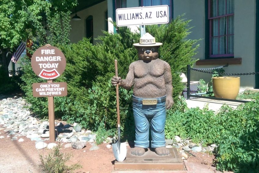 Smokey the Bear statue outside Williams Arizona forestry office