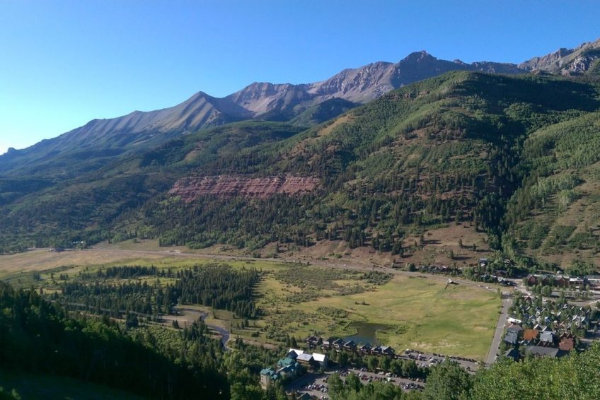 Looking down on the western edge of Telluride from the gondola