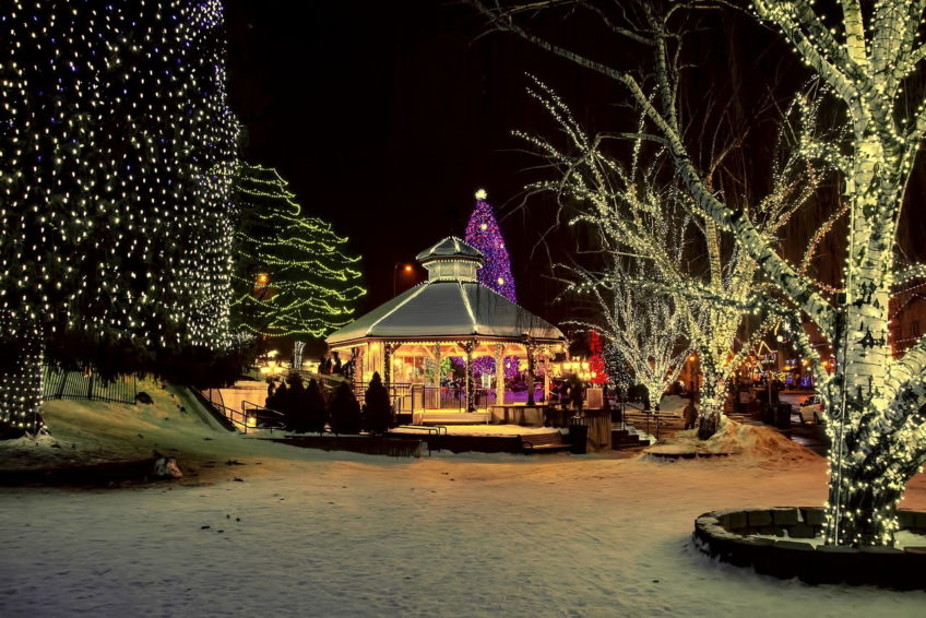 Gazebo and trees lit up for Christmas in front Street Park Leavenworth