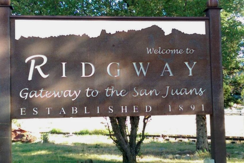 Sign welcoming visitors to Ridgway – Gateway to the San Juans