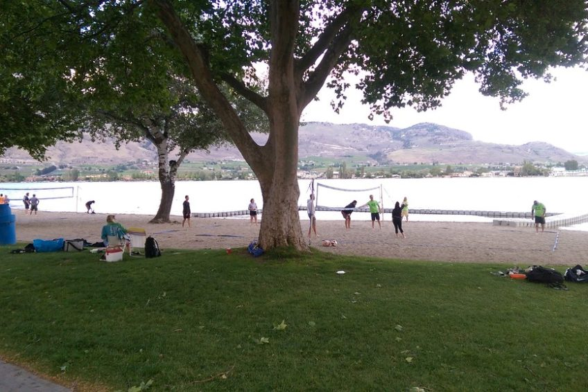 Beach Volleyball game at Gyro Beach Park in Osoyoos