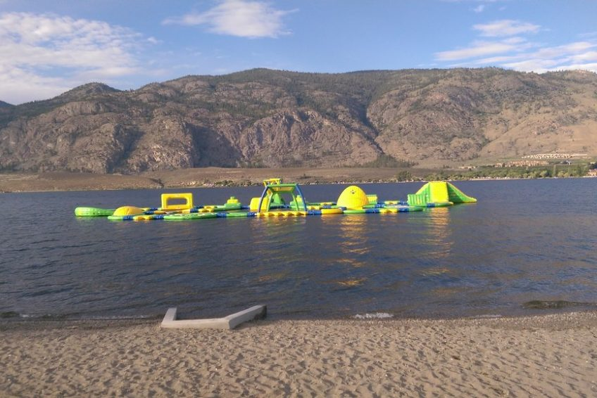 Inflatable waterpark at Gyro Beach in Osoyoos