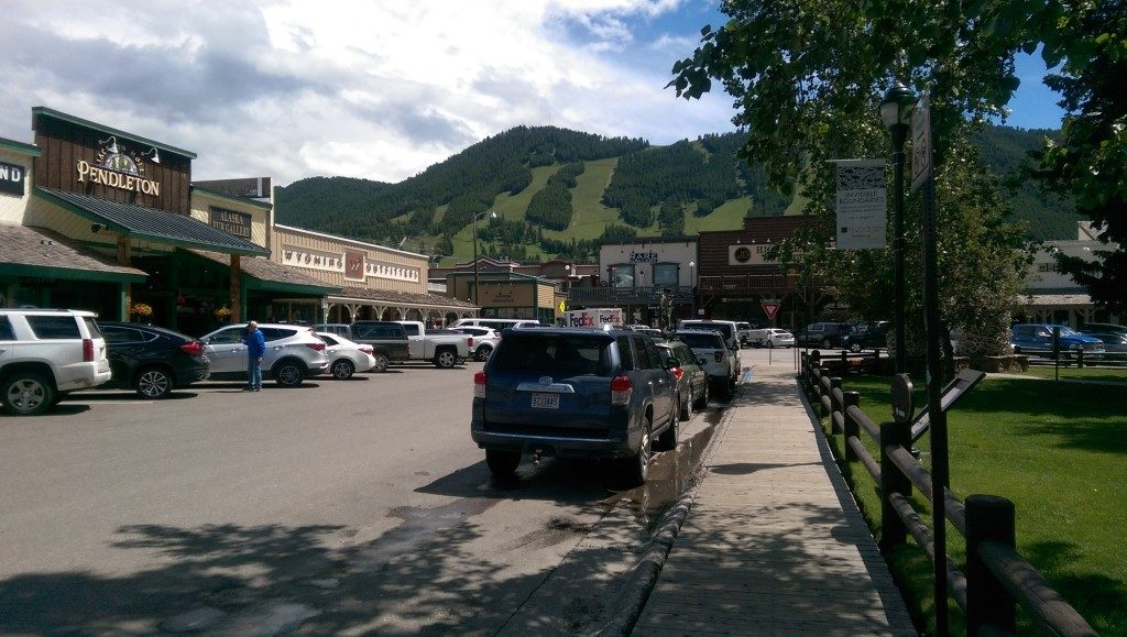 Western shops and galleries adjacent to Jackson Wyoming Town Square