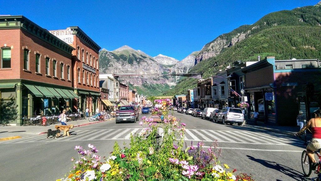 Looking east on Colorado Avenue in Telluride
