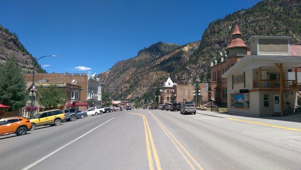 Looking north along Main Street in Ouray Colorado