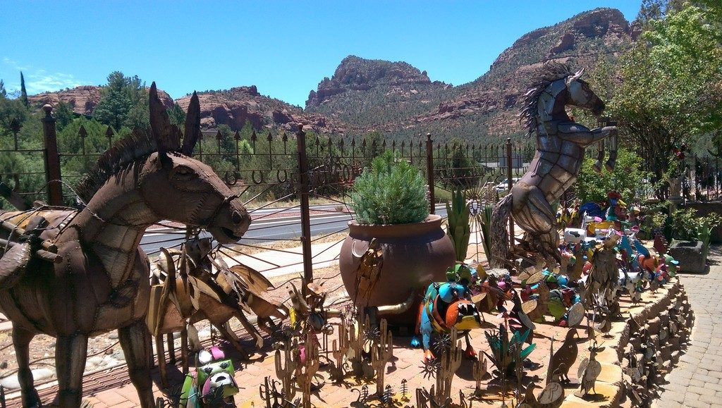 Hand crafted metal sculptures for sale at Son Silver West Galleries in Sedona